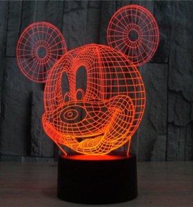 Ночник 3D светильник Микки Маус