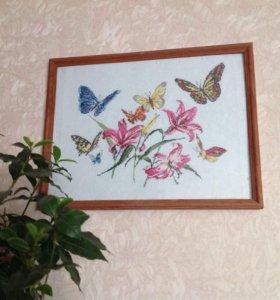 Бабочки. Вышивка крестом. Ручная работа