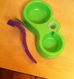 Новая миска и щетка для собаки
