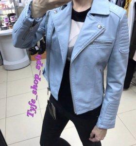 Куртка голубая ЭКО кожа