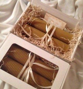 Свечи медовые,  набор свечей из воска (вощины)