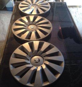 Колпаки от Шкоды оригинальные 16 диаметр 3шт
