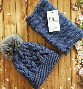 Комплект: шапочка и снуд! Помпон из чернобурки