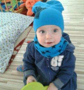 Хлопковый Комплект новый шапочка и шарф снуд