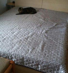 Двуспальная бу кровать с матрасом