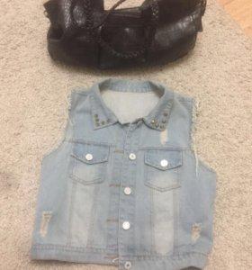 Джинсовый жилет и сумка