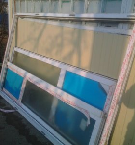 Дверь 2-х створчатая,балконный профиль КБЕ,б/у.