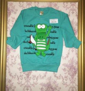 Кофта детская с крокодилом зеленая
