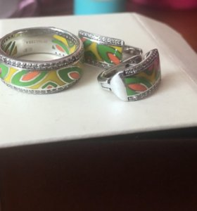 набор серебро серьги и кольцо