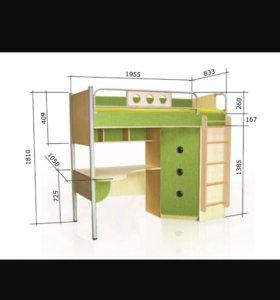 Кровать-чердак, тумбочка на колесиках