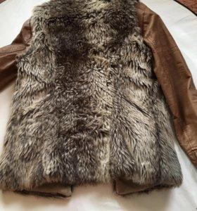 Кожаная куртка и меховая жилетка