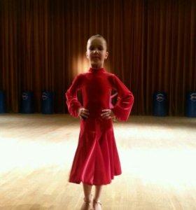 бархатное платье для спортивных бальных танцев