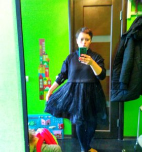 Платье трикотаж+тюль