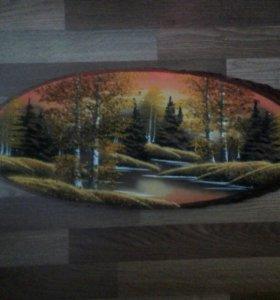 Картины на срезе дерева