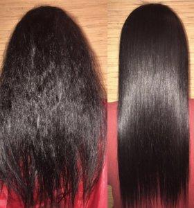 Кератиновое выпрямление волос. Полировка волос
