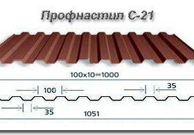 Профнастил С-21 (крыша) (толщина 0,45)