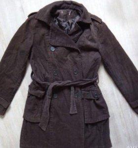 Пальто женское вельветовое коричневое в х/с M