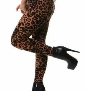 Утеплённые леопардовые леггинсы