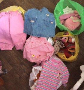 5пакетов детских вещей для девочки до 0 до 2,5 лет