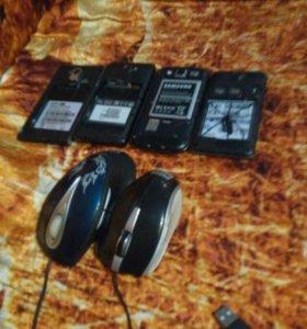 Продам телефоны и две мышки на запчясти.