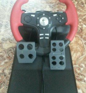 Игровой руль с педалями Logitech.