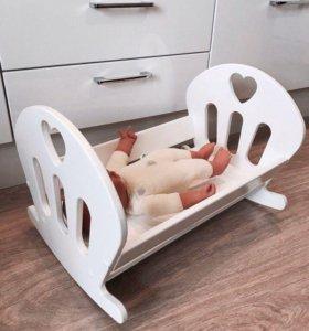 Кровать для куклы из дерева (Новая)
