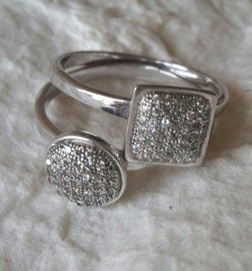 Кольцо серебро с фианитами 2 в 1