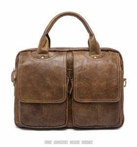 Мужская кожаная сумка портфель из натуральной кожи