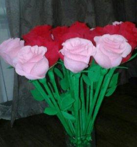 Розы из Гофированой бумаги