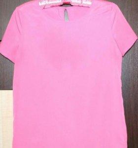 Три блузы розовая, голубая, темно-синяя