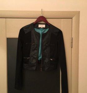 Кофта жакет женский чёрный со вставками на молнии