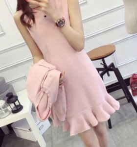 Платье+кардиган новый костюм в розовом цвете