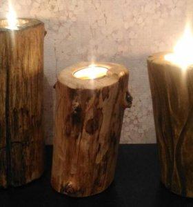 Подсвечники из дерева