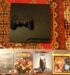 PS3 320gb + 4 игры