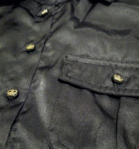 Черная атласная рубашка