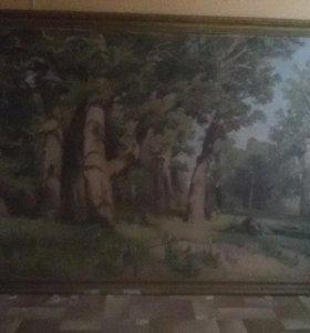 Старинная копия картины Шишкина, Дубовая роща.