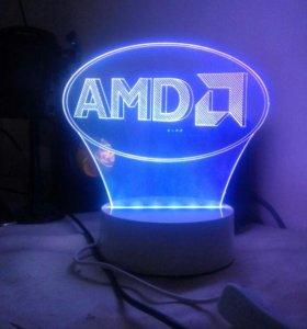 3D ночник AMD Logo. только для фанатов)