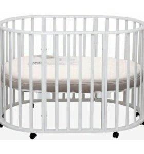 Детская кроватка + матрас круглый овальный