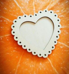 Фоторамка Сердце из дерева