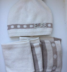 Шапка шарф для девочки( шерсть мериноса )