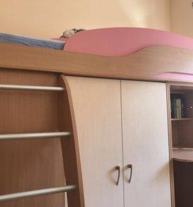 Двухэтажная кровать с шкафом, столом + матрац