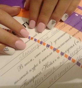 Покрытие ногтей гель лаком , наращивание ногтей