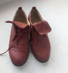 Туфли полуботинки бордовые