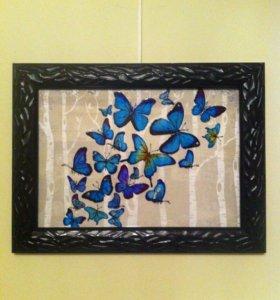 """Картина """"Бабочки"""". Заливной витраж"""
