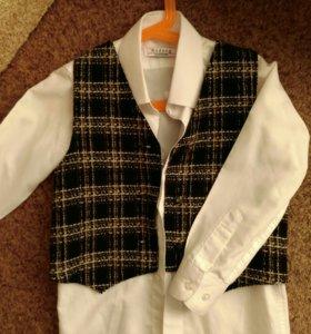 Брюки классика на 5-6л.+рубашка+жилет