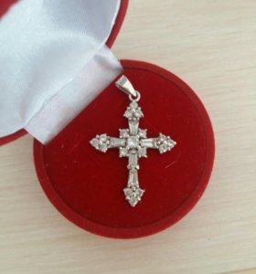 Крестик со вставками -серебро