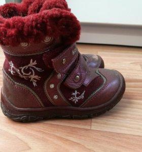 Зимние ботинки натуральный мех, кожа 24 размер