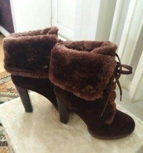 Сапоги коричневые замшевые зимние