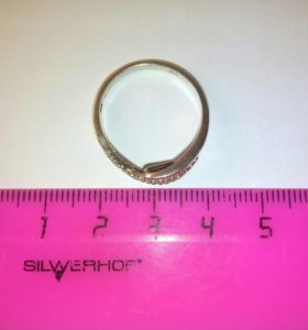 Кольцо серебро, позолота 18,5р-р