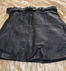 Черная юбка кожа натуральная
